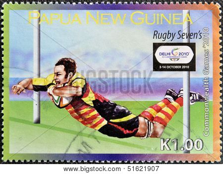 A stamp printed in Papua New Guinea dedicated to Rugby