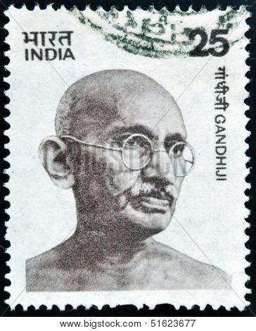 stamp printed in India shows Mahatma Gandhi