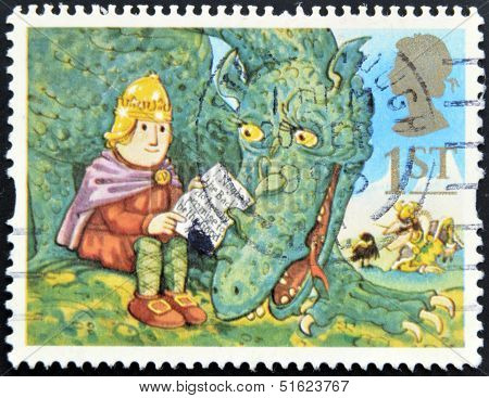 A stamp printed in Great Britain shows Noggin and the Ice Dragon