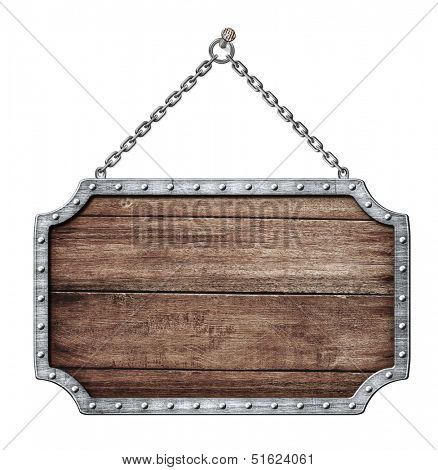 wooden shield or road sign hanging on chains isolated on white