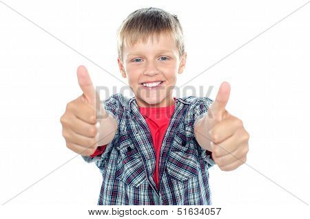 Student Flashing Double Thumbs Up