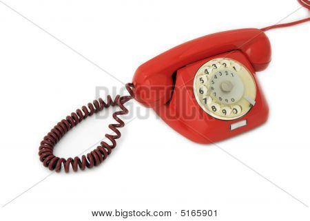 Old Telephone Red