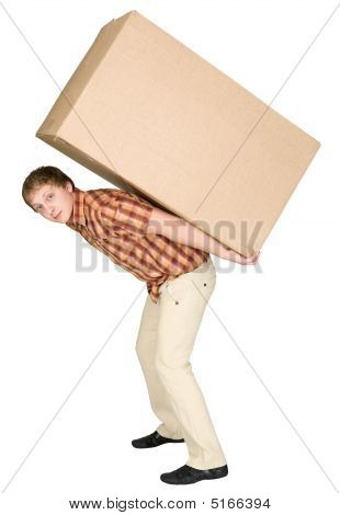 The young man bears the big box on a back poster