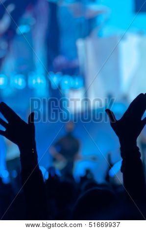 Silhouette Of Raised Hands