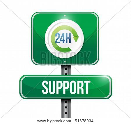 24 hour support road sign illustration design over white poster
