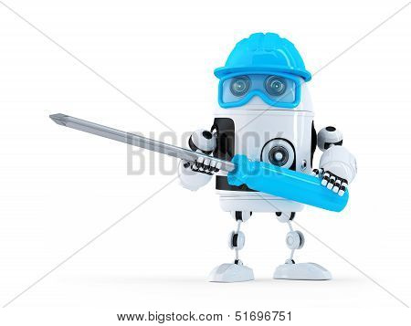 Robot With Screwdriver.