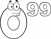 Black And White Price Tag Number 0 99 Cartoon Mascot Character poster