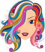 An Illustration of a Abstract Hair Wave Design against white background poster