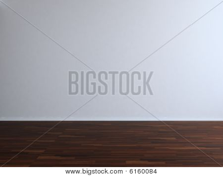 Blank White Wall With Parquet