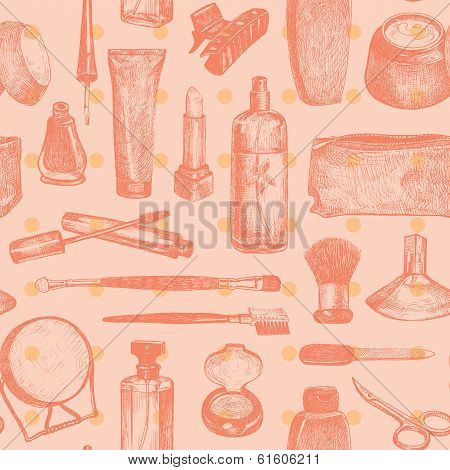 Cosmetics And Beauty Seamless Pattern Vector