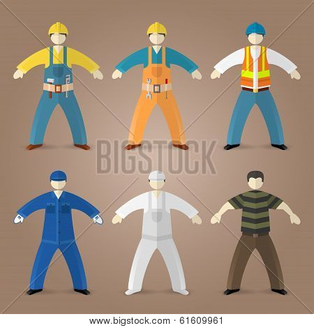 Professions set of workers and builders
