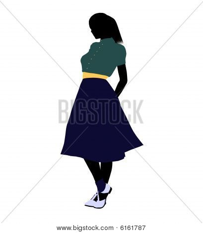 50's Female Dancer Illustration Silhouette