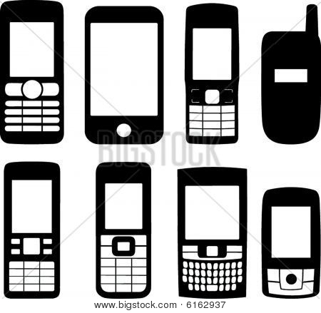 Mobiele telefoons silhouetten