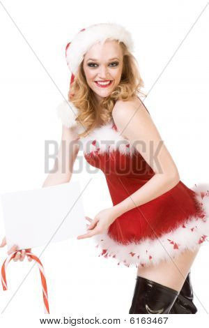 Excited Pin Up Mrs Santa Claus With Huge Candy Cane