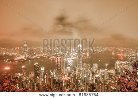 Hong Kong Island From Victoria Peak Park