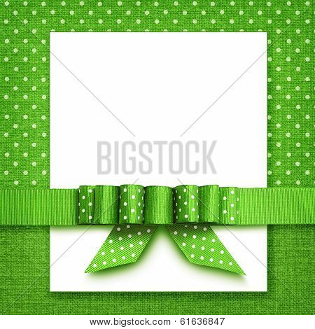 Bow On Green And White Background