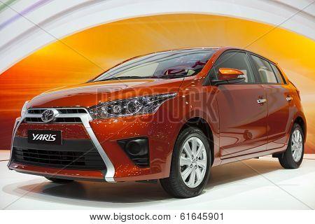 NONTHABURI  DECEMBER 6 : Toyota Yaris car on display at The 30th  Thailand International Motor Expo on December 6 2013 in Nonthaburi Thailand.