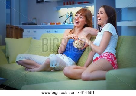 Two Girls Looking Tv