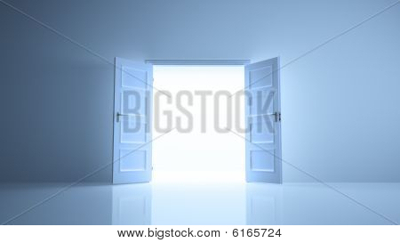Abstract room with open doors image