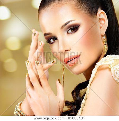 Closeup beautiful face of glamor woman with black eye makeup