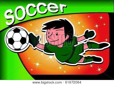 cartoon soccer player goalkeeper