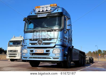 Blue Mercedes-benz Actros Truck On A Yard