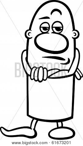 Black and White Cartoon Illustration of Funny Skeptical Guy Character for Coloring Book poster