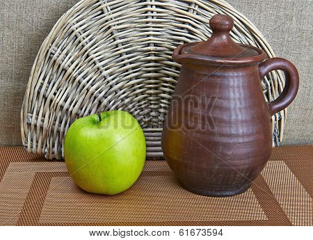 Pottery And Apple Still Life