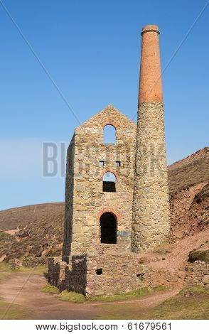 Industrial Cornish tin mine and blue sky