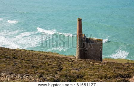 Ruins of an English tin mine Wheal Coates near St Agnes Head in Cornwall UK