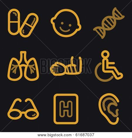 Medicine web icons, gold line set