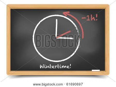 detailed illustration of a blackboard with daylight saving clock for wintertime, eps10 vector, gradient mesh included