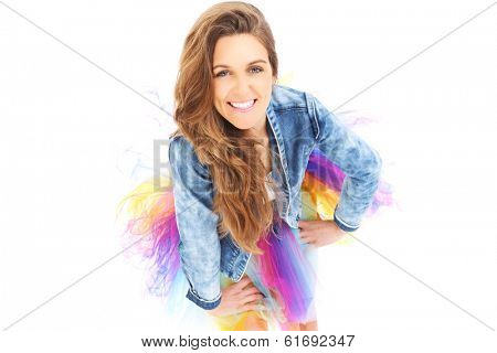 A picture of a happy woman posing over white background