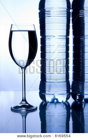 Mineral Water Glass Two Bottles