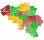A large map of Belgium, with all districts and main cities. poster