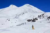 Elbrus - a sleeping volcano and snowboarder poster