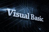 The word visual basic against futuristic black and blue background poster