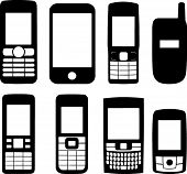 Silhouettes of eight deferent mobile phones. Each phone is an individual single path and in a separate layer. You can resize them,change their color do whatever you want. poster