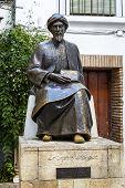 Statue of the Jewish scholar Moses Maimonides Rabbi Mosheh Ben Maimon Cordoba Andalusia Spain poster