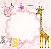 Cute scrapbook  for girl with baby elements. poster