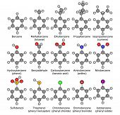 Benzene and its derivatives. 2D Illustration. Isolated poster