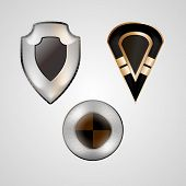 Shields with silver, gold, black elements various shapes. Three vector illustrations. poster