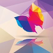 Geometric polygonal butterfly, pattern design, vector illustration poster