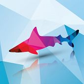 Geometric polygonal shark, pattern design, vector illustration poster