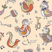 Cartoon jazz orchestra concept wallpaper. Birds sing and dancing. Seamless pattern can be used for wallpaper pattern fills web page backgrounds poster