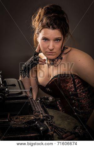 Steam Punk Woman With Typewriter