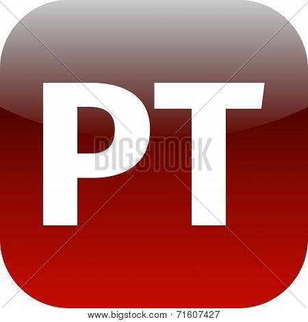 Red Pt Icon - Portuguese Language Sign Icon. Pt Portugal Translation Symbol.