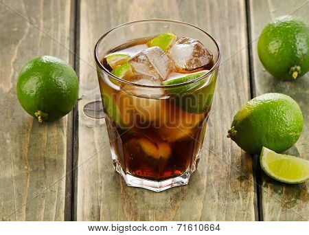 Cuba Libre Cocktail With Limes On  Wooden