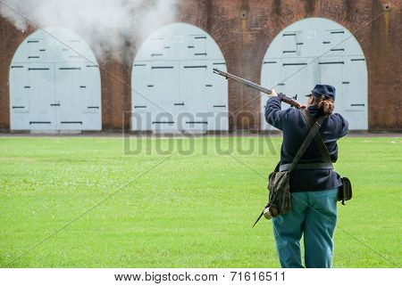 Civil War Reenactment Soldier