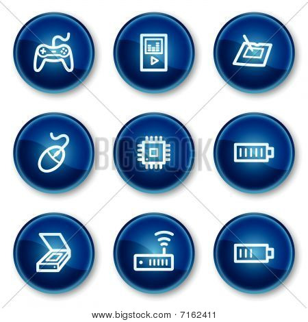Vector web icons, blue circle buttons series poster